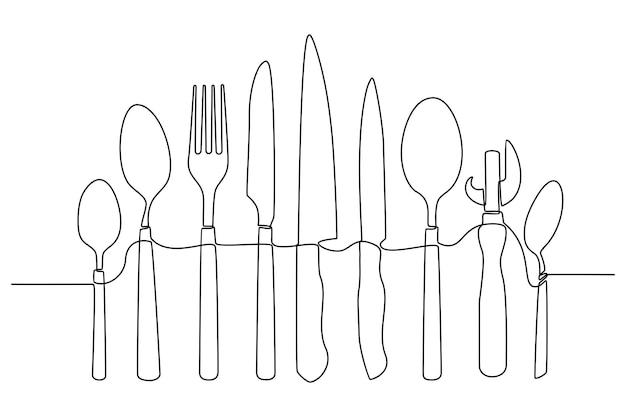 Kontinuierliche strichzeichnung von küchenutensilien oder kochgeschirr-vektorillustration