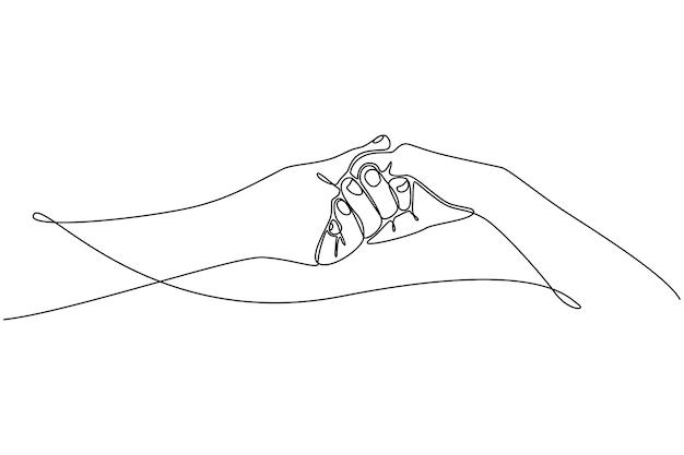 Kontinuierliche strichzeichnung von männlichen und weiblichen händen, die sich gegenseitig romantischen konzeptvektor halten