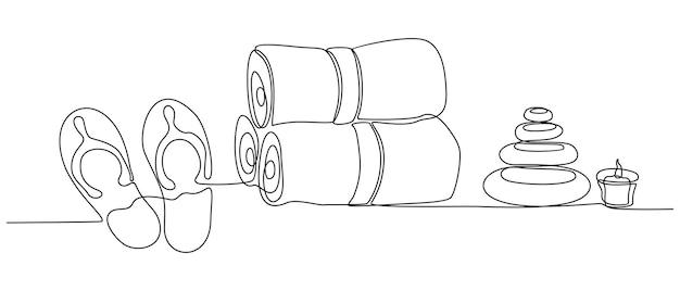 Kontinuierliche strichzeichnung von spa-massagegeräten set vector illustration