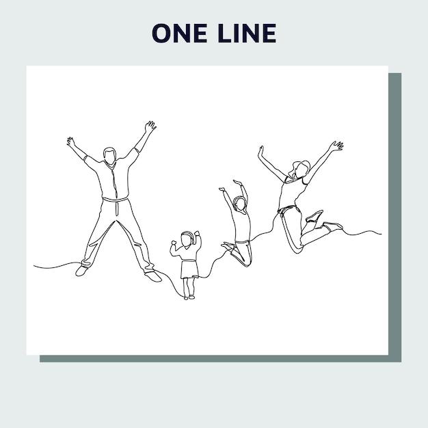 Kontinuierliche strichzeichnung von springenden glücklichen teammitgliedern.