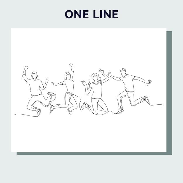 Kontinuierliche strichzeichnung von springenden glücklichen teammitgliedern. Premium Vektoren