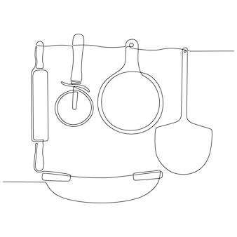 Kontinuierliche strichzeichnung von werkzeugen für die pizzaherstellung board rocker messer cutter nudelholz vektor