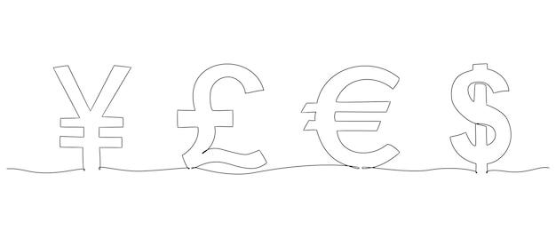 Kontinuierliche strichzeichnung währungssatz vektor-illustration