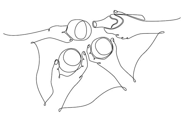 Kontinuierliche strichzeichnung weiblicher und männlicher hände, die eine brille mit getränkeparty-konzeptvektor halten