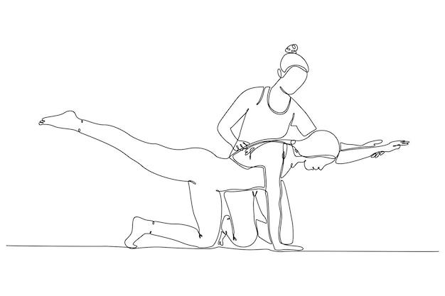 Kontinuierliche strichzeichnung yogalehrerin hilft jungen frauen beim erstellen von asana-posen im fitnessstudio-vektor