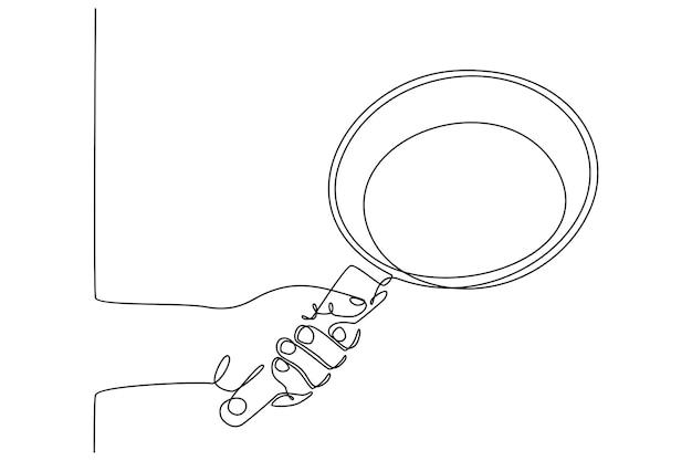 Kontinuierliche strichzeichnungshand, die eine bratpfanne-vektorillustration hält