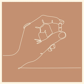 Kontinuierlicher umriss einer hand, die eine kapsel mit zwei fingern hält vektorillustration