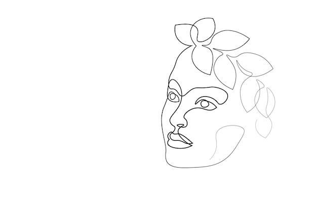 Kontinuierliches einzeiliges kunstmädchengesichtskonzept. schöne frau porträt mode haar hand gezeichnete skizze. schönheit glücklich lächelnde junge dame seite kopf schwarz weiß monochrome vektor-illustration.
