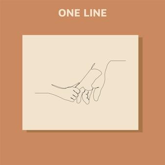 Kontinuierliches strichzeichnen eine helfende hand geben