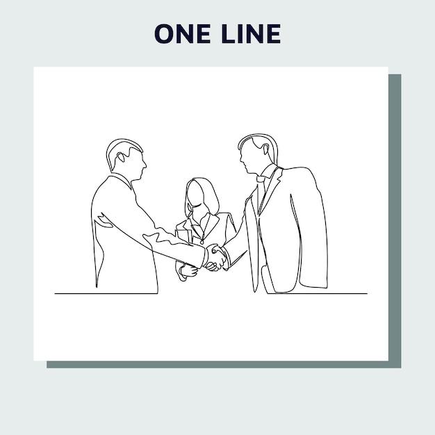 Kontinuierliches strichzeichnungskonzept von geschäftsleuten, die mit händedruck treffen.