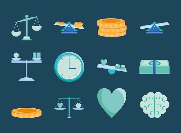 Kontostand und geld-icon-set
