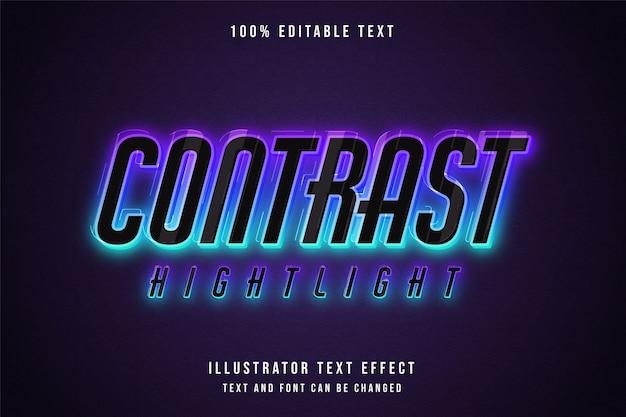 Kontrast hervorhebung, 3d bearbeitbarer texteffekt blaue abstufung rosa neon-stileffekt