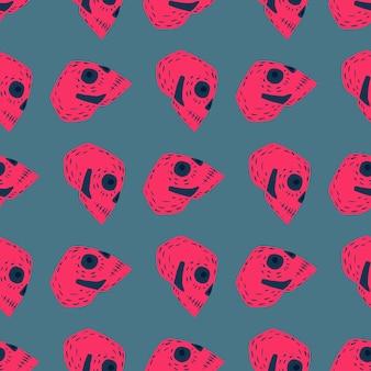 Kontrastieren sie nahtloses muster mit beängstigender rosa verzierung. blauer blasser hintergrund. piraten-kulisse. abbildung auf lager. vektordesign für textilien, stoffe, geschenkpapier, tapeten.