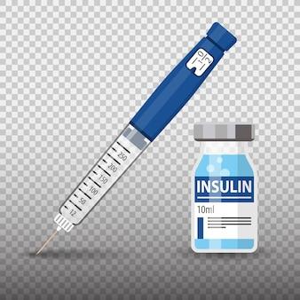Kontrollieren sie ihr diabetes-konzept mit einer insulin-pen-spritze und einer durchstechflasche