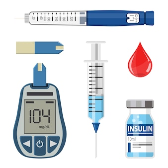 Kontrollieren sie ihr diabetes-konzept. symbole set mit blutzuckermessgerät, insulin-pen-spritze. isoliert