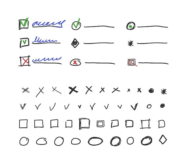 Kontrollkästchen und häkchensammlung für handgezeichnete vektorillustration des aufzählungszeichens isoliert auf weißem hintergrund