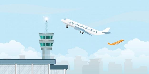 Kontrollturm mit dem flugzeug, das vom flughafen sich entfernt.