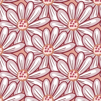 Konturiertes nahtloses muster der frühlingszeit mit gekritzelgänseblümchen-blumenverzierung. rosa hintergrund. abstrakter stil. abbildung auf lager. vektordesign für textilien, stoffe, geschenkpapier, tapeten.