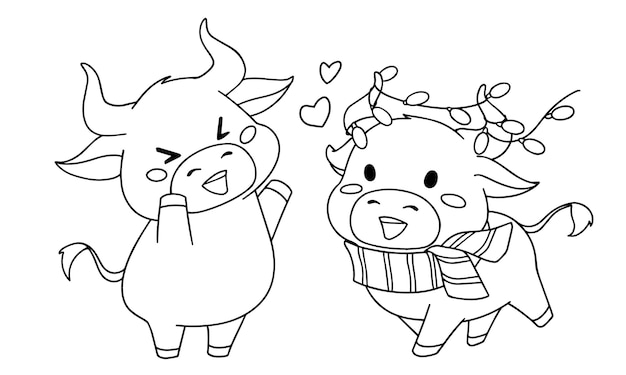 Konturillustration von zwei verschiedenen kleinen kuh, die weihnachtskostüm für malbuch tragen