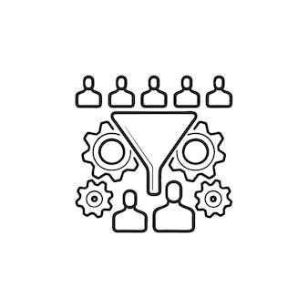 Konvertierungstrichter mit menschen und zahnrädern handgezeichnetes umriss-doodle-symbol. konzept zur conversion-rate-optimierung
