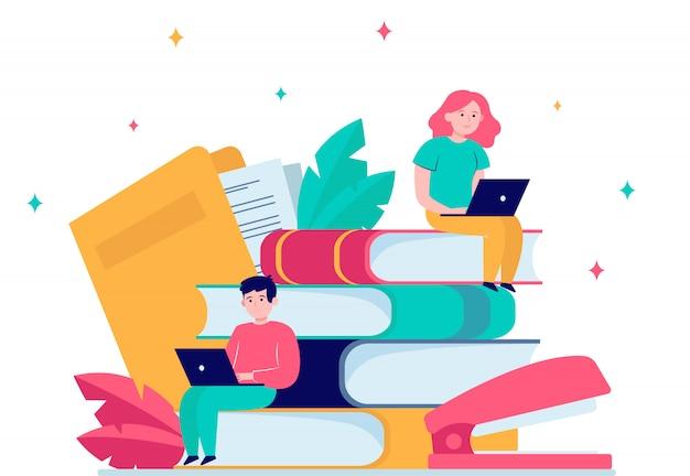 Konzentrierte menschen, die in der online-schule studieren