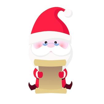 Konzentrierte weihnachtsmann lesegeschenkliste
