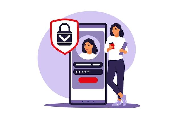 Konzept anmelden. junge frau, die sich über die smartphone-app anmeldet oder sich beim online-konto anmeldet. sicheres login und passwort. illustration. eben.