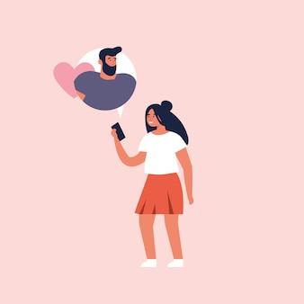 Konzept auf online-dating-anwendung, flaches design. junges mädchen, das mobiles gerät hält und mit ihrem freund plaudert.