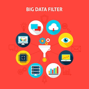Konzept big data-filter. vektor-illustration des geschäfts-infografik-kreis mit flachen ikonen.
