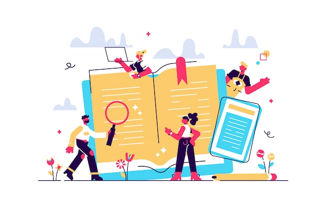 Konzept bildung, online-training, internet-lernen, online-buch, tutorials, e-learning für soziale medien, dokumente, karten, poster. fernunterricht illustration online-bildung