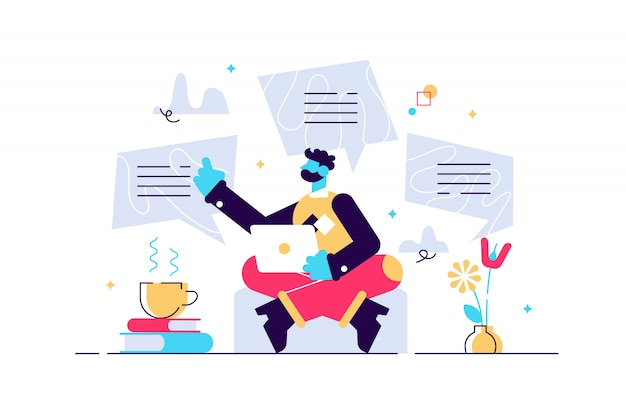 Konzept blog-inhalte, blogging, post, content-strategie, social media, chatten. abbildung seo infografik, management business Premium Vektoren