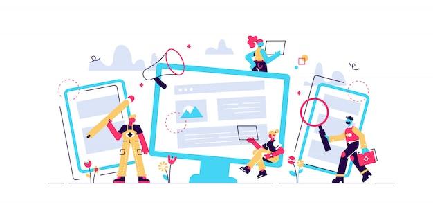 Konzept bloggen, bildung, kreatives schreiben, nachrichten zur illustration des content-managements, texterstellung, seminare, tutorial
