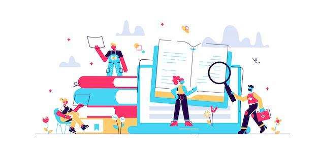 Konzept bloggen, bildung, kreatives schreiben, nachrichten zur illustration des content-managements, texterstellung, seminare, tutorial Premium Vektoren