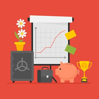 Konzept business flipchart cup koffer safe sparschwein. vektor-illustration. objekte festlegen.