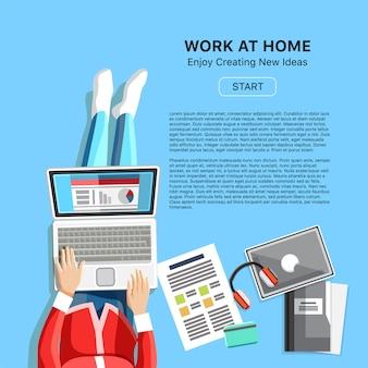 Konzept der arbeit zu hause mit frau