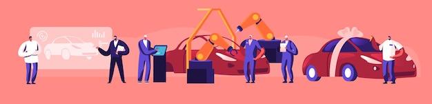 Konzept der autoproduktion. ingenieur designer führen sie ein automobilprojekt durch, automatische fließbandmaschinen für fördermaschinen industrielle automatisierungsindustrie, kunden kaufen neues auto. flache vektorillustration der karikatur