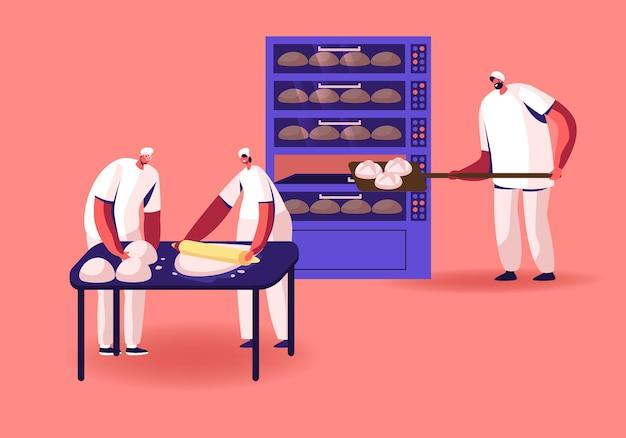 Konzept der bäckerei und lebensmittelproduktion. karikatur flache illustration