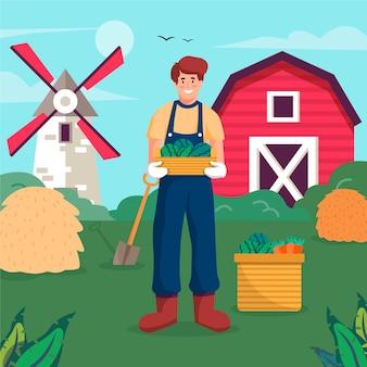 Konzept der biologischen landwirtschaft mit dem landwirt, der ernte hält