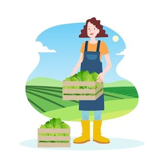 Konzept der biologischen landwirtschaft mit der frau, die salat hält