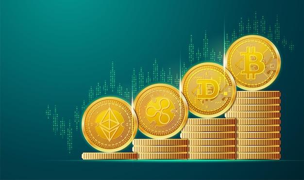 Konzept der bullischen kryptowährungsgrafik von bitcoin mit bullenmarkt und finanzelement