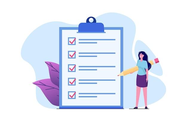 Konzept der checkliste der geschäftsfrau