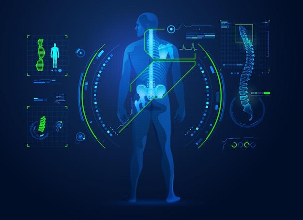 Konzept der chiropraktik oder der medizinischen behandlung der wirbelsäule