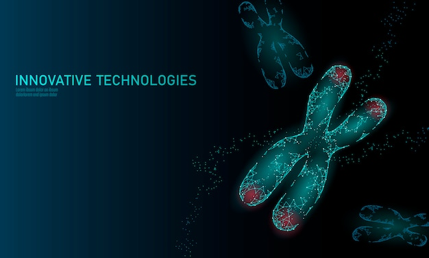 Konzept der chromosomen-dna-strukturmedizin. alterungsprozess für genetische erkrankungen mit niedrigem polypolygonalen telomer. gmo engineering crispr cas9 innovation moderne technologie wissenschaft illustration