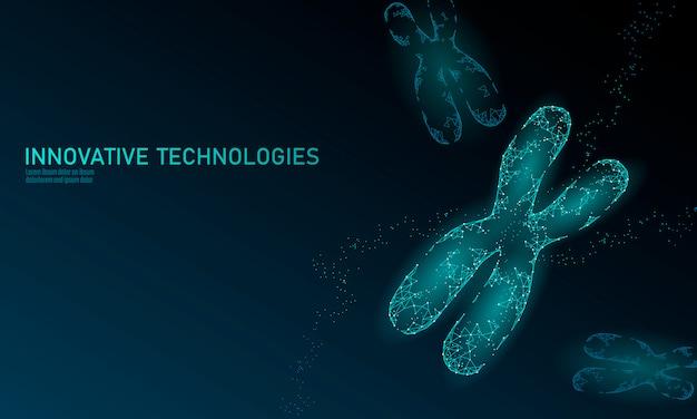 Konzept der chromosomen-dna-strukturmedizin. eine gentherapie mit niedrigem polypolygonalen dreieck heilt genetische erkrankungen. gmo engineering crispr cas9 innovation moderne technologie wissenschaft illustration