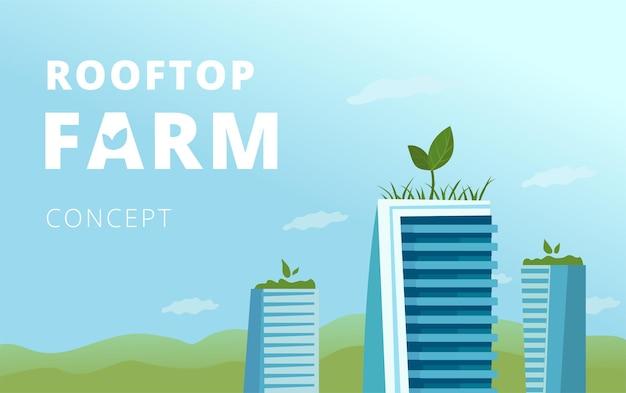 Konzept der dachfarm. mehrere wolkenkratzer mit grün oben, eine zielseitenvorlage.