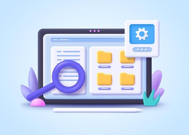 Konzept der dateiverwaltung. dateien in der datenbank suchen. dokumentenmanagement-soft, dokumentenfluss-app, konzept für zusammengesetzte dokumente. 3d-illustration.