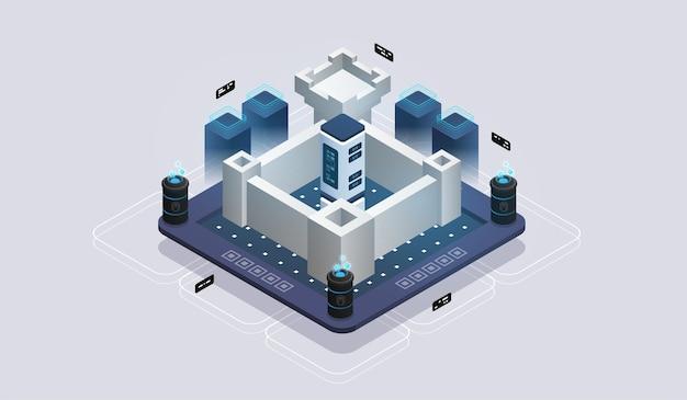 Konzept der datennetzwerkverwaltung, isometrische karte mit business-netzwerkservern. datenschutz.