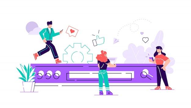 Konzept der digitalen datenforschung am computer. informationsrecherche. illustration, feld und suchsymbol. flache art moderne designillustration für webseite, karten, plakat, soziale medien