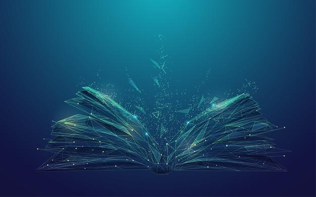 Konzept der digitalen kompetenz oder des e-learning, grafik eines low-poly-buches mit futuristischem element