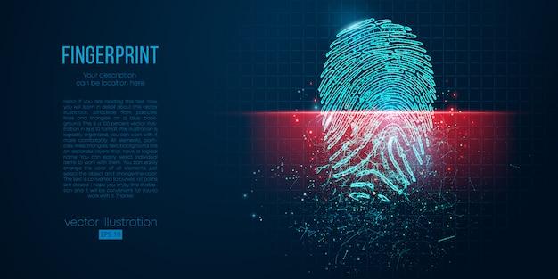 Konzept der digitalen sicherheit, elektronischer fingerabdruck auf dem scanbildschirm. geometrischer umriss mit niedrigem polydraht. partikel, linien und dreiecke auf blauem hintergrund. neonlicht.